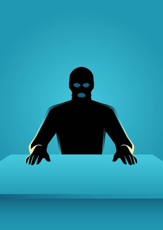 Vector illustration of man in mask, sitting in front of a table.