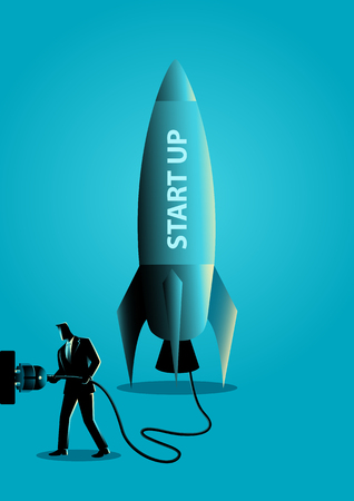 Business concept vector illustration of a businessman plugging in a start up rocket Illustration