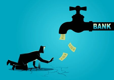 Business concept vector illustration of an exhausted businessman approaching a water tap flow with bank notes