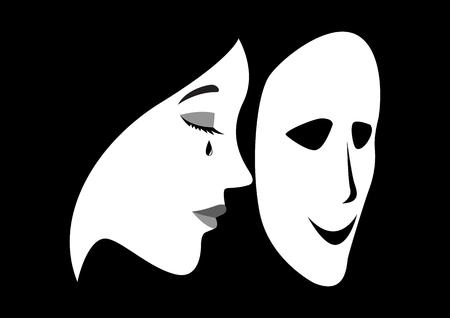 Konzept Illustration einer weinenden Frau mit einer Maske Maske vor ihrem Gesicht Vektorgrafik