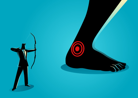 Business concept vector illustration of businessman as an archer aiming giant feet's heel, idiom for Achilles' heel, a weak point or fault in someone or something otherwise perfect or excellent. Vectores
