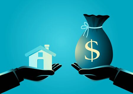 Vector illustration of real estate agent handover a house to a buyer