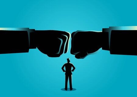 Concepto de negocio vectro ilustración de un hombre de negocios viendo dos puños gigantes chocaron