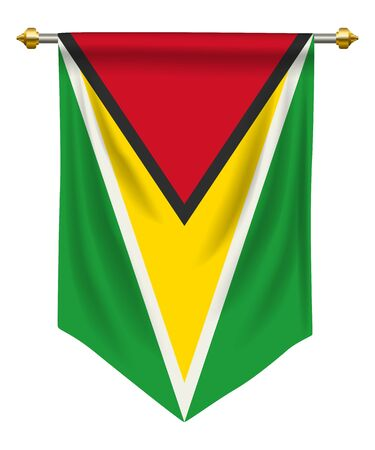 Guyana flag or pennant isolated on white