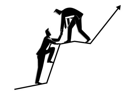 Business concept vector illustration of businessmen helping each other on top of graphic chart