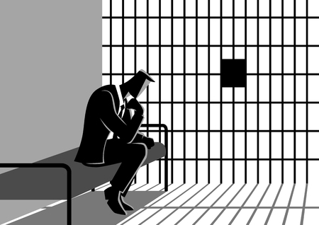 Business concept vector illustration of a businessman in jail