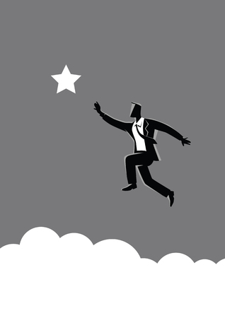 Business concept vector illustration of a businessman jumps to reach out for the star, for aspiration, motivation, determination in business concept
