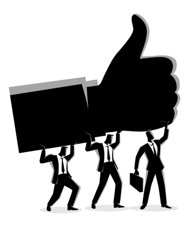 Business concept vector illustration of businessmen holding up giant thumb up hand, teamwork for success