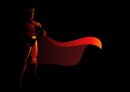 Silhouette illustration of a superhero in gallant pose  イラスト・ベクター素材