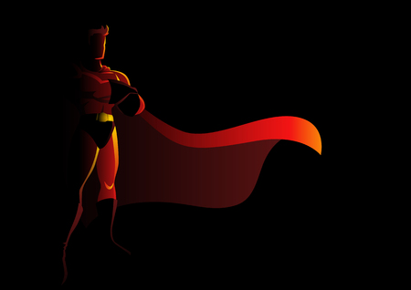 Silhouette illustration of a superhero in gallant pose Çizim