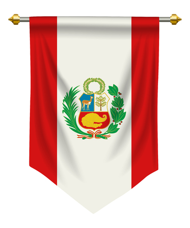 Peru flag or pennant isolated on white 일러스트