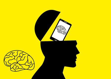 Graphic illustration of human brain being replaced by a smart phone Ilustração