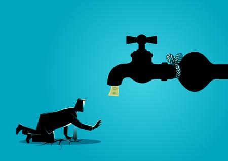 Geschäftskonzeptvektorillustration eines erschöpften Geschäftsmannes, der sich einem gebundenen Wasserhahn nähert, fließt mit Banknoten