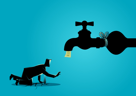 Business concept vector illustration of an exhausted businessman approaching a tied up water tap flows with bank notes  Illustration