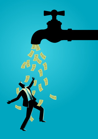 Business concept vector illustration of a businessman standing under water tap flows with banknotes Ilustrace