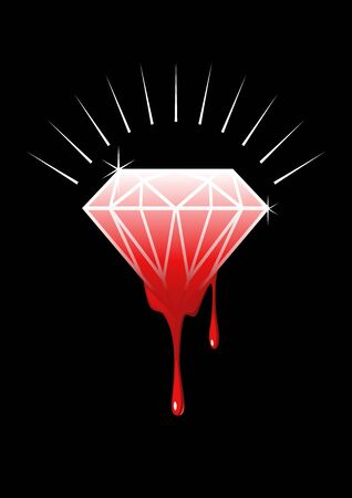 Conceptual illustration of blood diamonds (also called conflict, war, hot, or red diamonds) is a term used for a diamond mined in a war zone and sold to finance an insurgency, or a warlords activity.