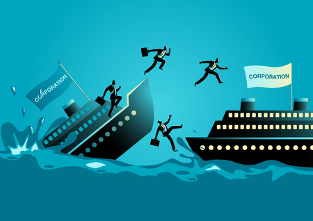 Business concept vector illustration of businessmen abandon sinking ship, to leave a failing organization or bad situation concept