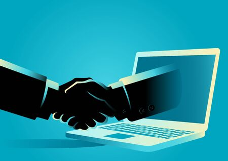 Business concept vector illustration of a businessman shake hands with a hand comes out from a lap top computer Illustration