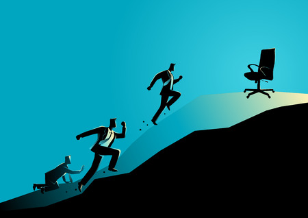 Business concept vector illustration of businessmen racing uphill to seize an empty chair, competition concept Ilustrace