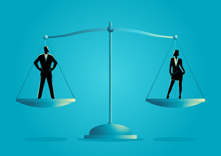 Business concept vector illustration of a businessman and businesswoman standing on a scale. Gender equality concept