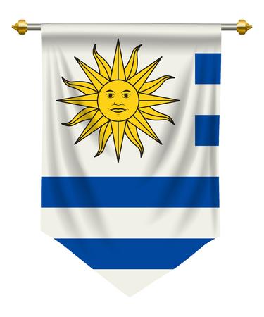 Uruguay flag or pennant isolated on white background, Vector illustration.