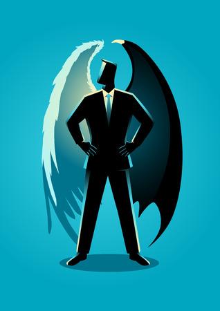天使と悪魔の翼を持つスーツを着た男のベクトルイラスト、善と悪の概念