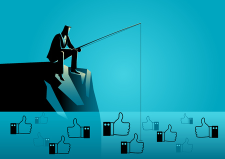 Vector illustration of a man in suit fishing for thumb up icons. Concept for social media marketing strategy, getting more Likes is a critical part of your marketing strategy.
