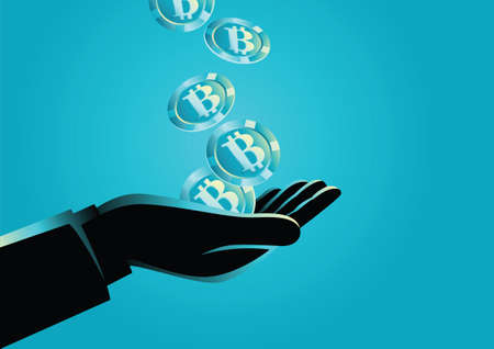 Business concept vector illustration of a hand holding bitcoins