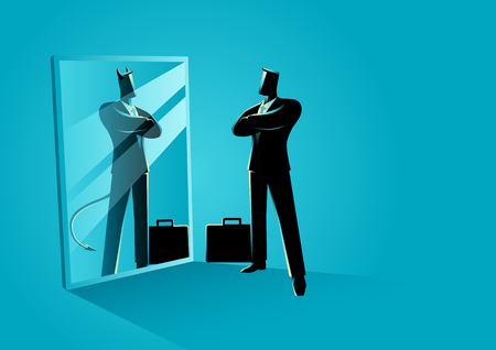 Business concept vector illustration of a businessman standing in front of a mirror, reflecting a devil. Double personality concept