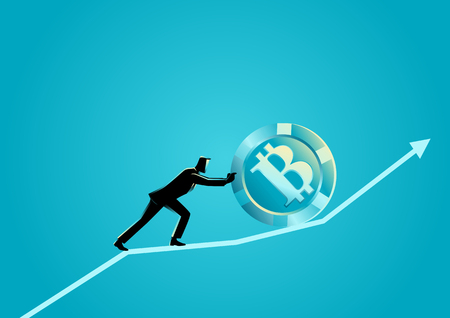 Business concept vector illustration of a businessman pushing a bitcoin upward on graphic chart