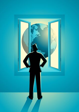 Business concept vector illustration of businessman looking through window with world view