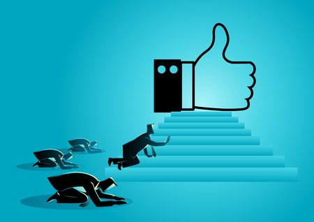 Concept vector illustration of people worshiping thumb up icon. Social media concept, people obsessed with like icon, getting more Likes is a critical part of your social media marketing strategy. Illustration