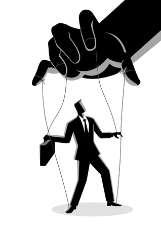 Business concept vector illustration of a businessman being controlled by puppet master Vettoriali