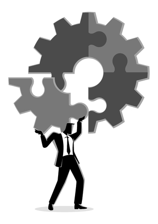 Business concept vector illustration of a man holding on his shoulder the final peace of puzzle which forming a gear, business, complete, completion, solution concept