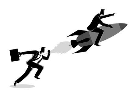 Geschäftskonzeptillustration eines laufenden Geschäftsmannes, der mit einem Geschäftsmann auf Rakete läuft Vektorgrafik