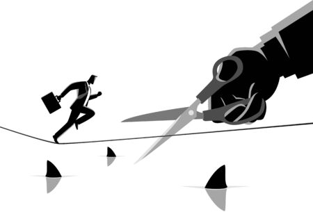 Business concept illustration of a businessman running on rope over a sea full with sharks, meanwhile a giant hand with scissors want to cut the rope