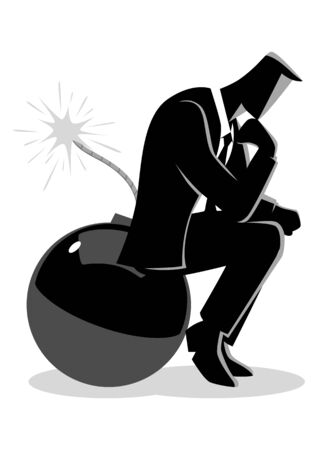 Business concept illustration of a businessman sitting on a bomb while thinking, running out of time, too much thinking will kill you.