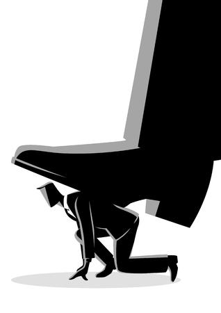 Illustrazione di vettore di concetto di affari del piede gigante che calpesta un uomo d'affari