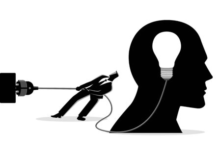Business concept illustration of a businessman trying to unplug the light bulb brain, sabotage, killing creativity concept