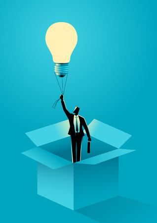 Business concept vector illustration of a businessman flying out of the box using light bulb air balloon. Thinking out of the box, creativity concept