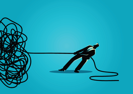 Business concept vector illustration of a businessman trying to unravel tangled rope or cable Stock Illustratie