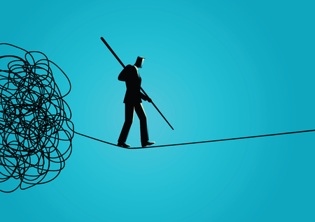 Business concept vector illustration of a businessman walking away carefully from tangled rope by holding a pole. Walk away from trouble, solution, problem solving, managing organization concept. Stock Illustratie