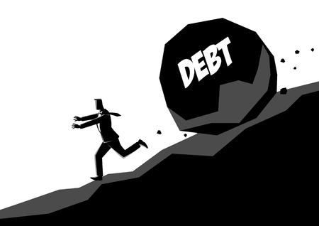 Business concept vector illustration of a businessman running away from large stone with message debt that is rolling down to him Illustration