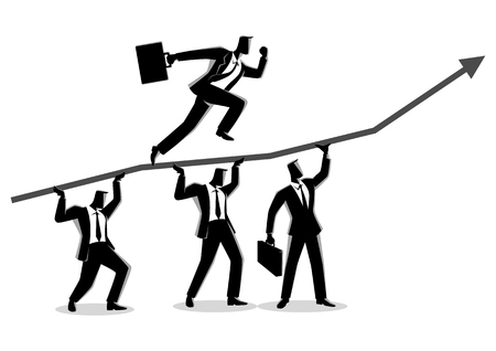 Business concept vector illustration of businessmen helping each other for his friend running on top of graphic chart Illustration