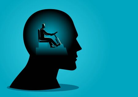 Business concept vector illustration of a human head being controlled by a businessman 일러스트