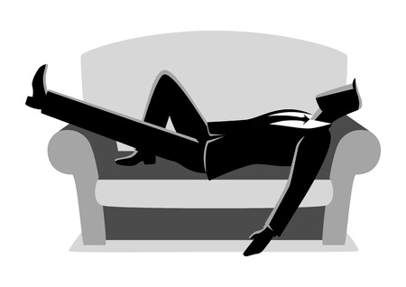 Business vector illustration of a businessman taking a nap on sofa. Laying, relaxing, recharge, resting concept