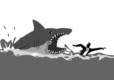 Business concept vector illustration of a businessman swimming panic avoiding shark attacks