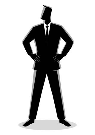 Business illustration of a businessman standing with both hand around waist Illustration