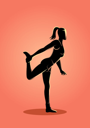 Silhouette vector illustration of a woman stretching her leg Illustration