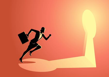 Business concept illustration of a businesswoman running towards a key hole. Business, chance, opportunity, success concept
